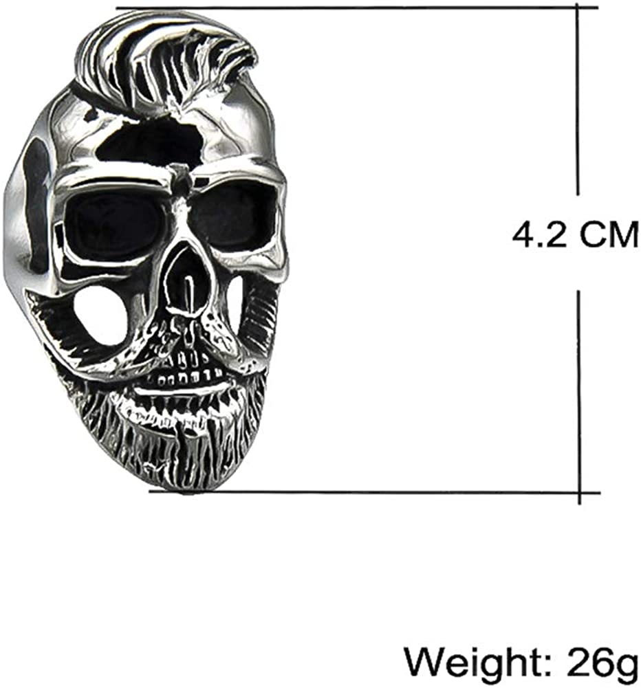 Excow Jewelry Elvis Presley Concert Commemorate Rock and roll Hiphop Stainless Steel Skull Bone Ring