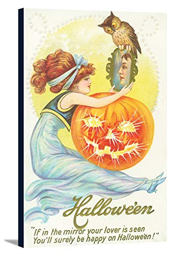 Halloween Scene of Woman Looking at Lover in Mirror (15 3/8x24 Gallery Wrapped Stretched Canvas)]()
