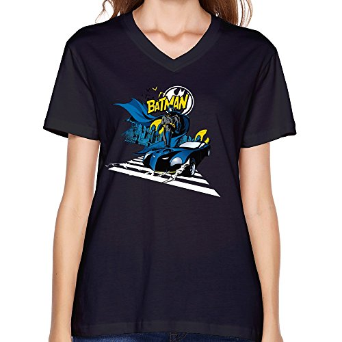 ZHENGAIMEI Designed Womens Batman Gifts Casual V-Neck T Shirt (Batman Begins Grappling Hook)