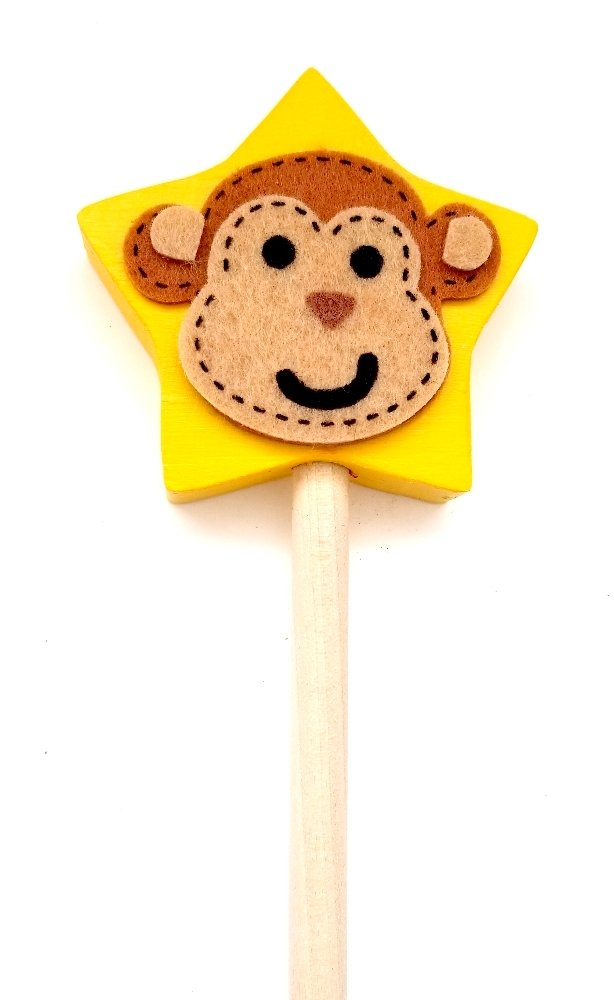 Wooden Pointer, AA-733STMK18-18 MADE IN USA w/Wood STAR(2-3/4) & MONKEY in felt plus red rubber end cap, perfect for smart board screen.