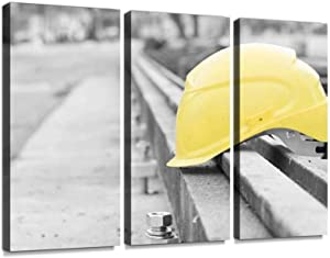 Protective Construction Helmet railss and Pictures Print On Canvas Wall Artwork Modern Photography Home Decor Unique Pattern Stretched and Framed 3 Piece