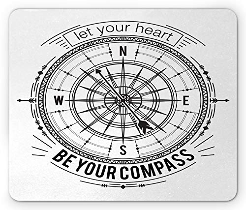 Ambesonne Vintage Nautical Tattoo Mouse Pad, Monochrome Compass Drawing Cardinal Directions Pattern, Standard Size Rectangle Non-Slip Rubber Mousepad, Charcoal Grey and White]()