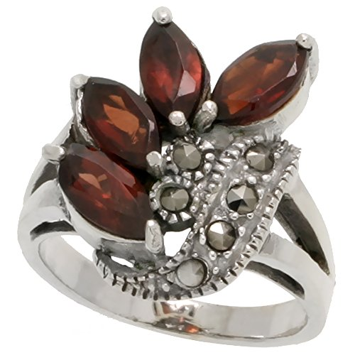 Freeform Ring (Sterling Silver Marcasite Freeform Ring, w/ Natural Garnet, 3/4 inch (19 mm) wide, size 8)