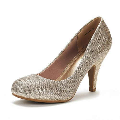 DREAM PAIRS ARPEL Women's Formal Evening Dance Classic Low Heel Pumps Shoes New Gold Glitter Size 5 ()