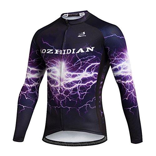 (Uriah Women's Cycling Jersey Long Sleeve Thermal Fleece Lightning Purple Size M(CN))