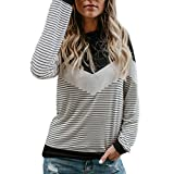 Clearance! Women Fashion Color Block Tunic Tops Long Sleeve Striped Patchwork T-Shirts Blouses (White, L)