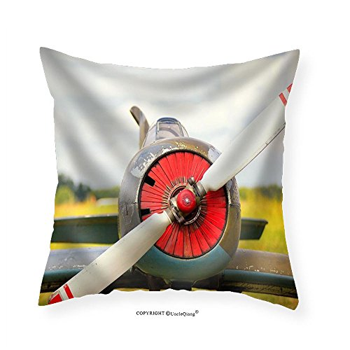 VROSELV Custom Cotton Linen Pillowcase View on Propeller on Old Russian Airplane on Green Grass - Fabric Home Decor - Tube Russian Girl