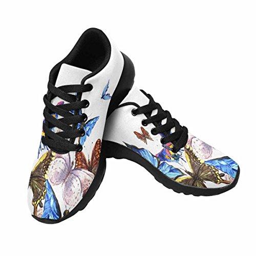 Interestprint Mujeres Casual Soft Sports Road Running Zapatos Para Caminar Mariposas En Un Fondo Blanco Multi 1