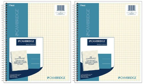 Mead Cambridge Wirebound Quad Notebook, 70 Sheets-Ivory, 2 pk