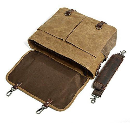 Bag Sac mallette avec vert Première Canvas Crossbody pour de à cuir Wax Sacs bandoulière main couche Épaule NONGNIML WaterproofOil Sac hommes qwXaEBE1x