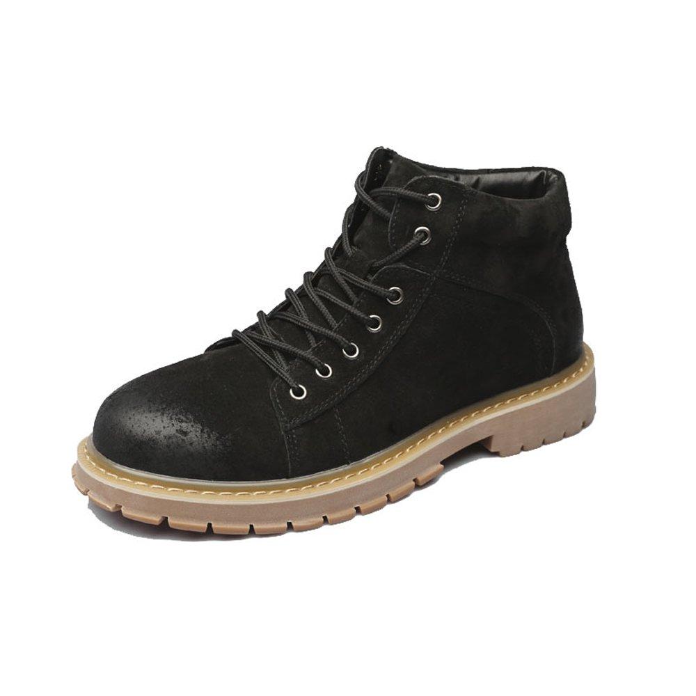 Zapatos de Hombre con Cordones de Cuero Genuino Botines Martin Tobilleros con tacón Alto para Caballeros 6.5 UK|Negro