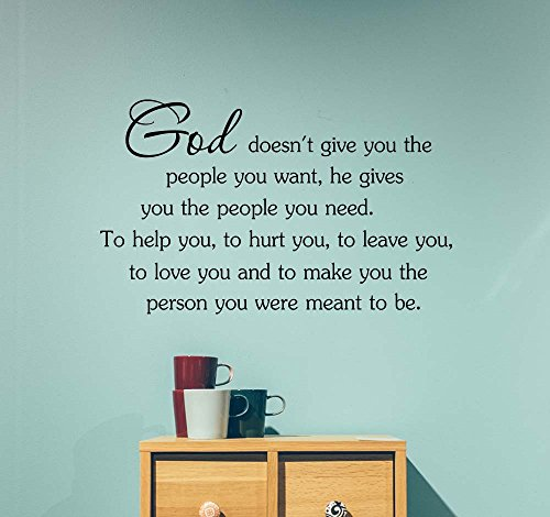 God doesn't give you the people you want he gives you the people you need to help you Love classroom college dorm vinyl saying lettering wall art inspirational sign wall quote decor by  Simple Expressions Arts
