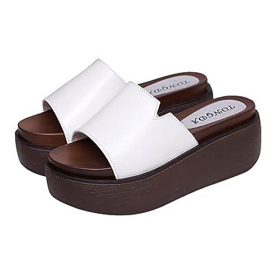 ACE SHOCK Platform Slippers Women High Heel, Casual Summer Wedges Sandals Slip-on