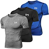 Men's Sport Short Sleeve T-Shirt, Cool Dry Athletic Fitness Workout Baselayer, Compression Top Running Cycling Basketball (3 Pack-b, X-Large)