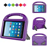 MENZO Kids Case for Fire 7 2017, Light Weight Shockproof Handle Stand Kids Friendly Case for Fire 7 inch (2017 released), Purple