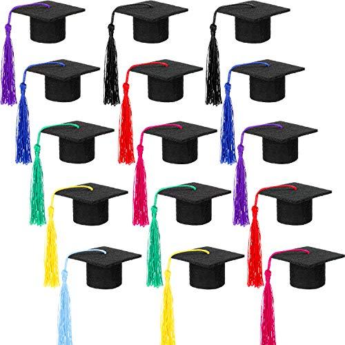 15 Pieces Graduation Cap Bottle Toppers Mini Graduation Caps Graduation Hat-shaped Decorations for Graduation Party Supplies, 8 Colors