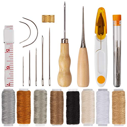 AIEX 29Pcs Upholstery Repair Kit Leather Hand Sewing Needles Craft Tools with Upholstery Needles, Thread,Tape Measure, Drilling Awls for Leather Canvas Sewing