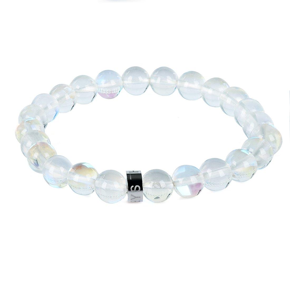 Three Keys Jewelry 8mm Synthetic Moonstone Beads Bracelet Handmade Healing Beads Birthstone Meditation Energy Stretch Bracelet Unisex 7'' GB-005