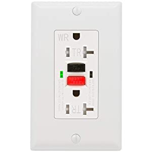 GFCI Outlet 20 Amp, UL Listed, Tamper-Resistant, Weather Resistant Receptacle Indoor or Outdoor Use, LED Indicator with Decor Wall Plates and Screws (White)