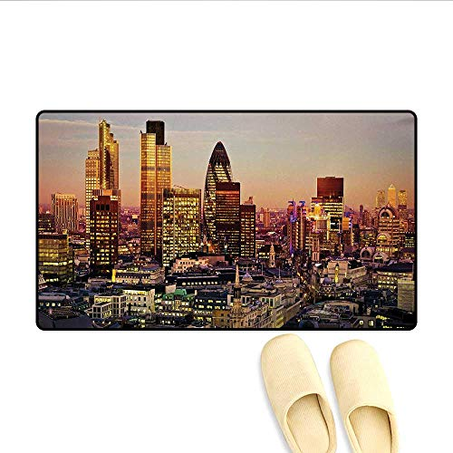 Doormat,Global City Sunset Reflecting on Skyscrapers Famous Town Landmark View Photo Print,Bath Mat for Tub Bathroom ()