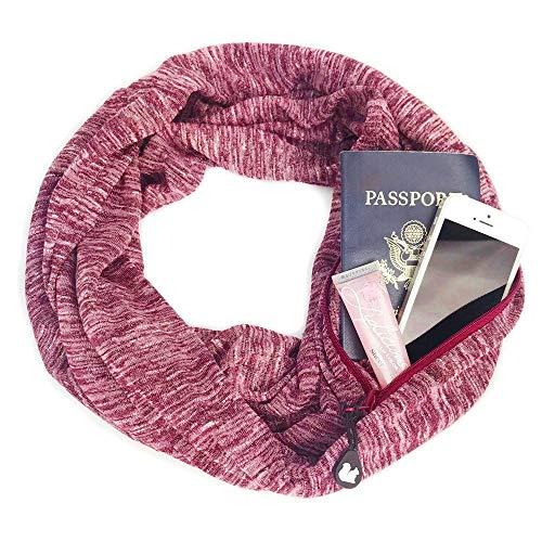 - Pocciol Women Winter Convertible Infinity Scarf Pocket Loop Zipper Pocket Scarves Cool ! (Red)