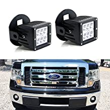 iJDMTOY (2) 24W High Power Dually 2x3 LED Pod Lights w/ Fog Lamp Location Mounting Brackets & Wiring Kit For 2006-2014 Ford F-150 F150