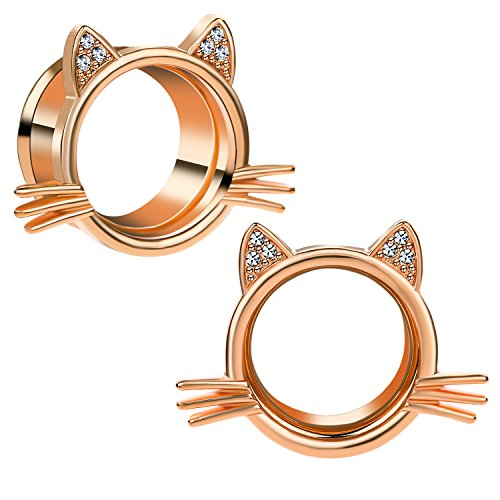 CABBE 2Pcs Kitten Stainless Steel Ear Tunnels Plugs Gauges 2g-1