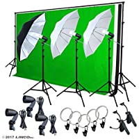 LINCO Lincostore Photography Lighting Photo Light Softbox Backdrop Stand Muslin Kit AM137