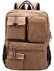 HOTOUCH Vintage Canvas College Backpack School Bag Laptop Backpack Travel Bag