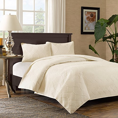 Madison Park Corrine Full/Queen Size Quilt Bedding Set - Ivory, Patterned Texture – 3 Piece Bedding Quilt Coverlets – Ultra Soft Microfiber Bed Quilts Quilted Coverlet -
