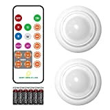 Wireless LED Puck Light, Multi Color Light with Remote Control, Kitchen Under Cabinet Light Operates On AA Batteries, Touch Light for Closet, Stair, Bedroom, Lockers - 2 Pack