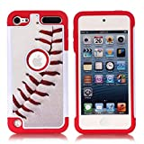 Apple iPod Touch 6th Case, iPod Touch 5 Cover - Baseball Sports Pattern Shockproof Hard PC and Inner Silicone Hybrid Dual Layer Armor Defender Case for Apple iPod Touch 5 6th Generation