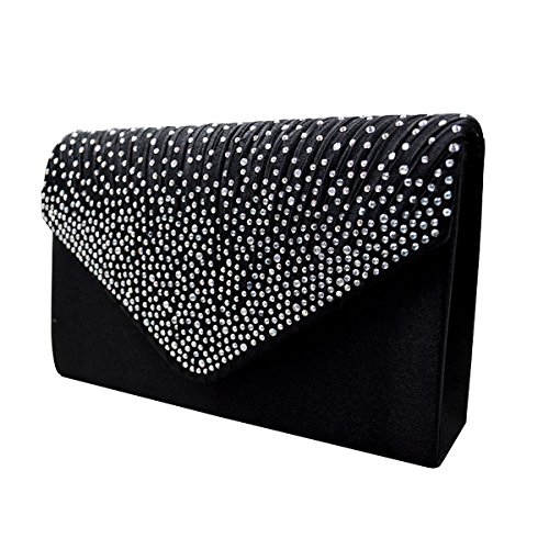 Clutch Envelope Black Bag Evning Womens Purse Party AiSi Satin Bag Diamante Bling Shoulder q6XAxOwgn