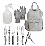 9 Piece Garden Tools Set - Heavy Duty Aluminum Alloy Gardening Tools with Non slip Rubber Handles for Indoor and Outdoor Gardening - Gardening Gifts Tool Set Comes with Canvas Storage Tote Bag