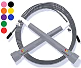 Wacces Premium Quality Adjustable Double Unders High Speed Jump Rope for Boxing, Martial Arts and Fitness (Gray)