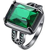 AWLY Jewelry Women 18k Black Gold Emerald Square Large Stone Princess Cut Green CZ Solitaire Wedding Ring