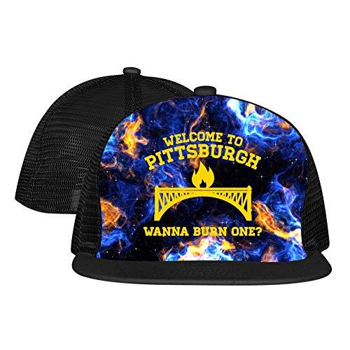 Gujigur Adult Unisex Flat Hat Creative Welcome to Pittsburgh Burning Bridge Novelty Hip Hop Printed Basketball Mesh Cap Black ()