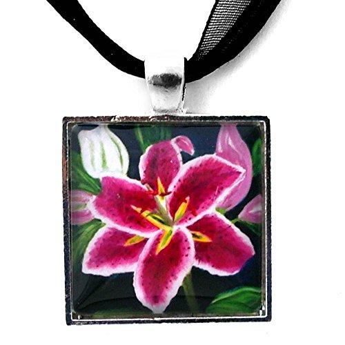 Stargazer Lily Flower Handmade Neckace Art Pendant ()