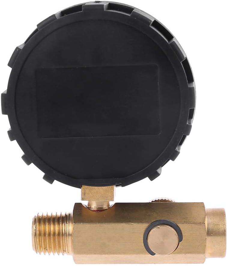 BIlinli 1//4Outil de Valve de contr/ôle de jauge de r/égulateur de Pression du compresseur dair num/érique 200PSI