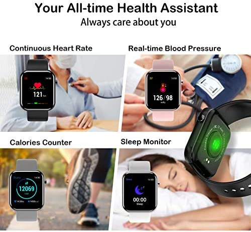 """Smart Watch Fitness Tracker with Blood Pressure Monitor Heart Rate Monitor for Android Phones iPhone Compatible, 1.54"""" IP67 Waterproof Activity Tracker for Women Men Sleep Monitor Medical Alarm 2"""