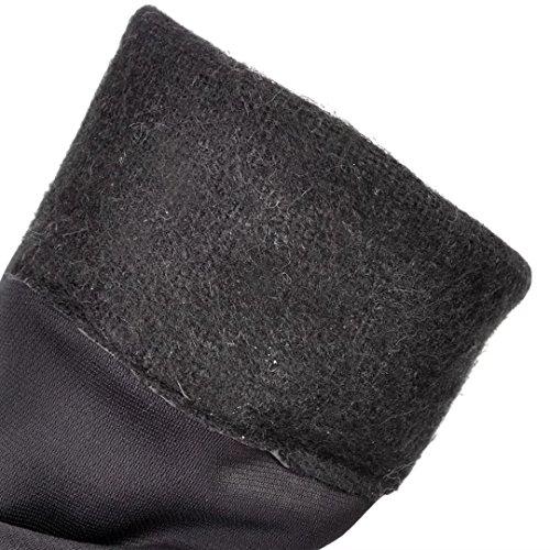 AIYOUMEI Damen Niedrige Overknee Stiefel mit 4cm Absatz Winter Warm Langschaft Stiefel Weinrot
