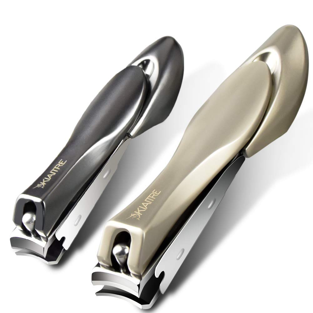Kiaitre Nail Clippers 2 PCS - Stainless Steel Nail Cutter with Catcher, No Splash Nail Clippers with Nail File, Fingernail&Toenail Clippers Set for Men and Women, Kids and Seniors by Kiaitre