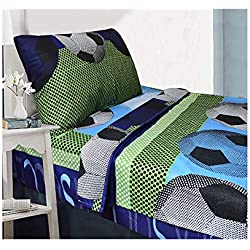 All American Collection 3 Piece Twin Size Soccer Sheet Set, Matching Comforter and Curtain Available (SHEET SET ONLY)