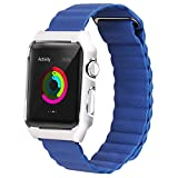 Apple Watch Band Leather Loop,LikeItY Genuine Leather Magnetic Strap with Metal Case for Apple Watch Series 1/2 - Shockproof Protective Bumper Replacement Band - 42mm Blue