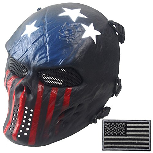 Wwman Full Face Skull Airsoft Mask and Military Patch Tactical Paintball CS Protective Gear equipment - Mask Military Paintball