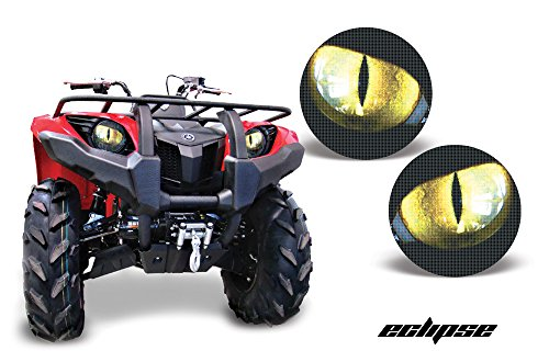 AMR Racing ATV Headlight Eye Graphic Decal Cover for Yamaha Grizzly 660/450/400/350/125 - Eclipse Yellow (Atv Accesory compare prices)