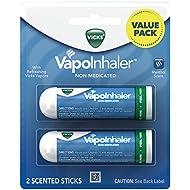 Vicks VapoInhaler Portable Non-Medicated Nasal Inhaler, Menthol, 2 Count