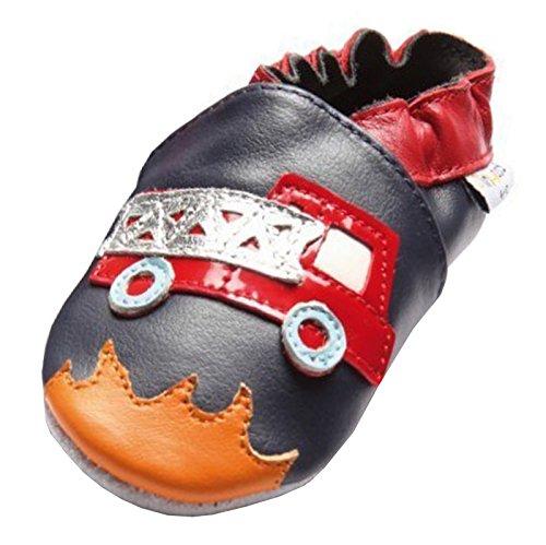 Jinwood designed by amsomo 12 Verschiedene Modelle - Jungen - Maedchen - Hausschuhe - Echt Leder - Lederpuschen - Krabbelschuhe - Soft Sole/Mini Shoes DIV. Groeßen 17/19-35/36 fire engine soft sole