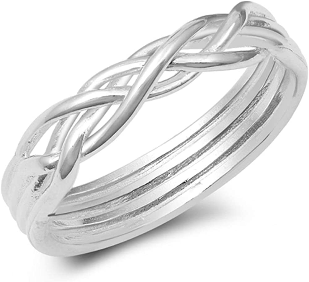 CloseoutWarehouse 925 Sterling Silver Braided Puzzle-Like Ring