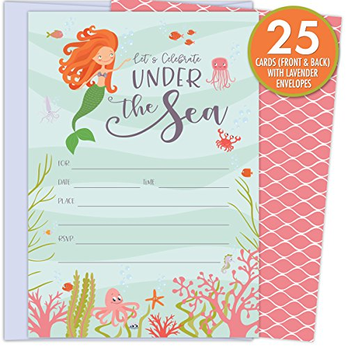 Under the Sea Mermaid Invitations with Deep Sea Creatures, Seaweed and Coral. 25 Lavender Envelopes and Fill in the Blank Style Invites for Birthdays, Baby Showers and Other Events.